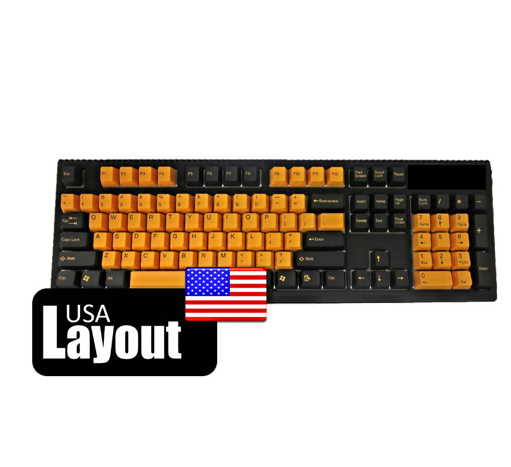 Tai-Hao PBT Double Shot Keycaps Black Orange USA
